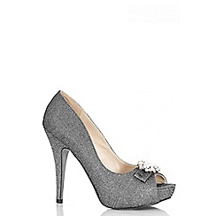 Quiz - Grey Shimmer Brooch Platform Shoes