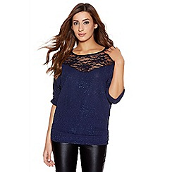 Quiz - Navy Glitter Ruched Side Batwing Top