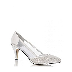 Quiz - Silver Diamante Low Heel Court Shoes