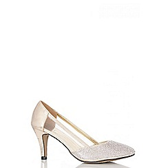 Quiz - Gold Diamante Low Heel Court Shoes