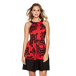 Quiz - Red And Black Glitter Foral Midi Dress