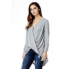 Quiz - Grey Light Knit Wrap Top