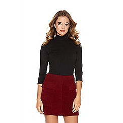 Quiz - Wine Faux Suede 2 Pocket Skirt