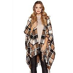 Quiz - Camel And Grey Check Faux Fur Cape