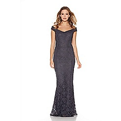 Quiz - Grey glitter lace bardot fishtail maxi dress