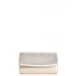 Quiz - Gold Small Diamante Satin Bag