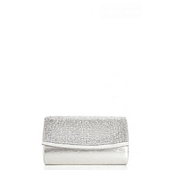 Quiz - Silver Small Diamante Satin Bag