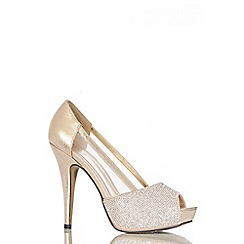 Quiz - Gold Diamante Mesh Platform  Shoes