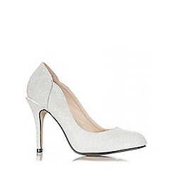 Quiz - Silver Shimmer Round Toe Court Shoes