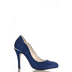 Quiz - Navy Shimmer Round Toe Court Shoes