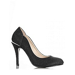 Quiz - Black Shimmer Round Toe Court Shoes