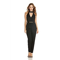 Quiz - Black low v front gold belt jumpsuit