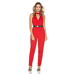 Quiz - Red Low V Front Gold Belt Jumpsuit