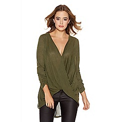 Quiz - Khaki Light Knit Wrap Top