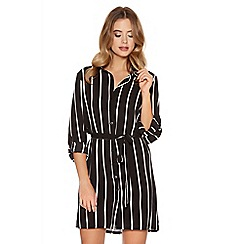 Quiz - Black Crepe Stripe Belt Shirt Dress