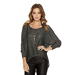 Quiz - Black knit 3/4 batwing dip necklace top