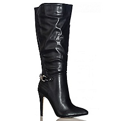Quiz - Black PU Point Long Boots