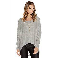 Quiz - Grey knit 3/4 batwing dip necklace top