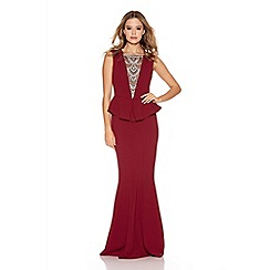 Quiz - Berry Crepe Diamante Trim Fishtail Maxi Dress