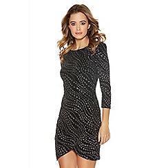 Quiz - Black glitter wrap front 3/4 sleeve dress