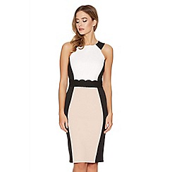Quiz - Cream Contrast Panel Lace Midi Dress