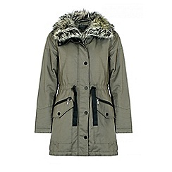 Quiz - Khaki fur lined collar parka jacket