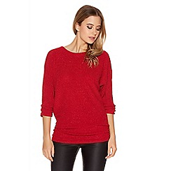 Quiz - Red Textured Glitter Ruched Side Batwing Top