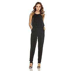 Quiz - Black glitter bubble top jumpsuit