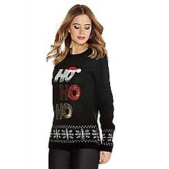 Quiz - Black knit sequin christmas jumper