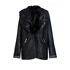 Quiz - Black Boucle Faux Collar Jacket