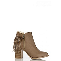 Quiz - Taupe Faux Suede Fringe Ankle Boots