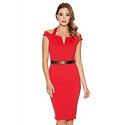Quiz - Red Halter Neck Bardot Gold Belt Bodycon Dress