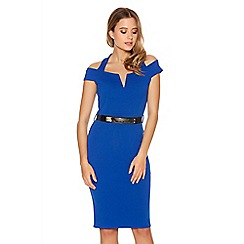 Quiz - Royal Blue Halter Neck Bardot Gold Belt Bodycon Dress