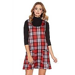 Quiz - Red Check Print Pinafore Dress