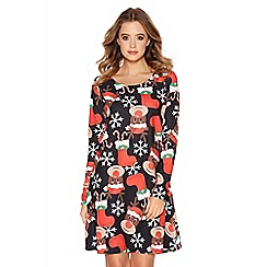 Quiz - Black Crepe Reindeer Long Sleeve Swing Dress