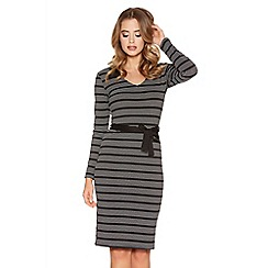 Quiz - Black Stripe Collared Midi Dress