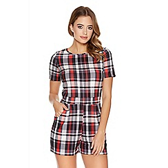 Quiz - Red Check Print Short Sleeve Playsuit