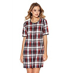 Quiz - Red Check Print Short Sleeve Tunic Dress
