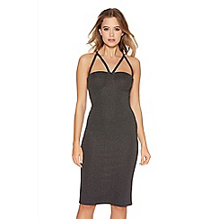 Quiz - Black Glitter Strap Bodycon Dress