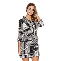 Quiz - Black Tile Print Tile Belt Shirt Dress