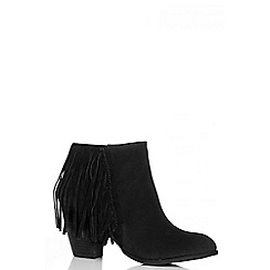 Quiz - Black Faux Suede Fringe Ankle Boots