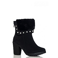 Quiz - Black Faux Fur Block Heel Ankle Boots