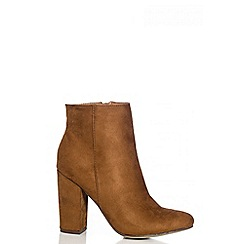 Quiz - Tan Faux Suede Ankle Boots