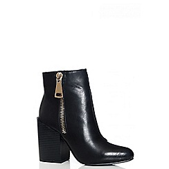 Quiz - Black Pointed Toe Ankle Boots
