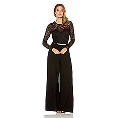 Quiz - Black glitter lace long sleeve palazzo jumpsuit