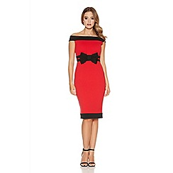 Quiz - Red and black bow bardot midi dress