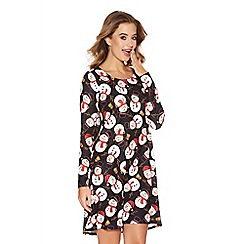 Quiz - Black Snowman Long Sleeve Swing Dress
