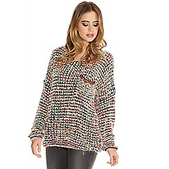 Quiz - Black multi colour popcorn knit pocket jumper