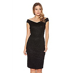 Quiz - Black Glitter Lace Bardot Dress