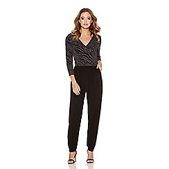 Quiz - Black glitter 3/4 sleeve jumpsuit